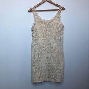 Spense Crocheted Cream Boho Cotton Tank Dress